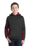 Sport-Tek YST239 Youth Sport-Wick CamoHex Moisture Wicking Fleece Hooded Sweatshirt Hoodie Black/Red Front