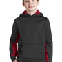 Sport-Tek Youth Sport-Wick CamoHex Moisture Wicking Fleece Hooded Sweatshirt Hoodie - Black/Deep Red