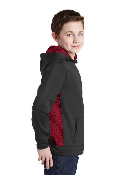 Sport-Tek YST239 Youth Sport-Wick CamoHex Moisture Wicking Fleece Hooded Sweatshirt Hoodie Black/Red Side