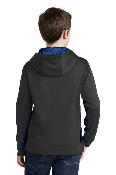 Sport-Tek YST239 Youth Sport-Wick CamoHex Moisture Wicking Fleece Hooded Sweatshirt Hoodie Black/Royal Blue Back