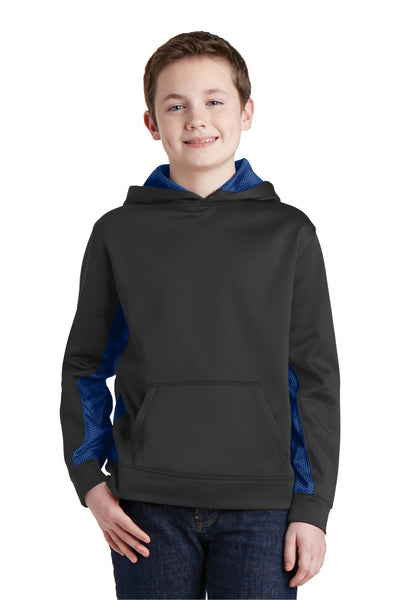 Sport-Tek YST239 Youth Sport-Wick CamoHex Moisture Wicking Fleece Hooded Sweatshirt Hoodie Black/Royal Blue Front