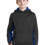 Sport-Tek Youth Sport-Wick CamoHex Moisture Wicking Fleece Hooded Sweatshirt Hoodie - Black/True Royal Blue
