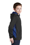 Sport-Tek YST239 Youth Sport-Wick CamoHex Moisture Wicking Fleece Hooded Sweatshirt Hoodie Black/Royal Blue Side