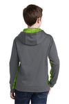 Sport-Tek YST239 Youth Sport-Wick CamoHex Moisture Wicking Fleece Hooded Sweatshirt Hoodie Dark Grey/Lime Green Back