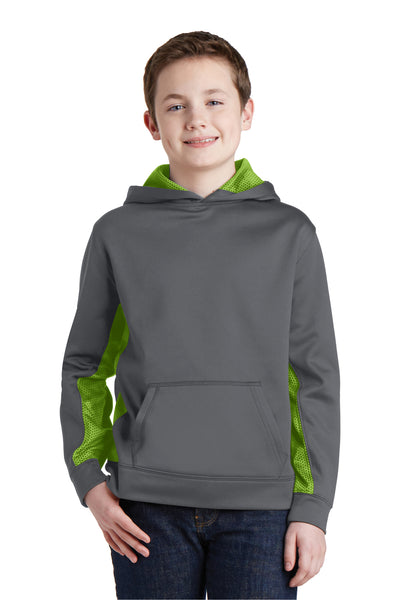 Sport-Tek YST239 Youth Sport-Wick CamoHex Moisture Wicking Fleece Hooded Sweatshirt Hoodie Dark Grey/Lime Green Front