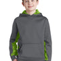 Sport-Tek Youth Sport-Wick CamoHex Moisture Wicking Fleece Hooded Sweatshirt Hoodie - Dark Smoke Grey/Lime Shock Green