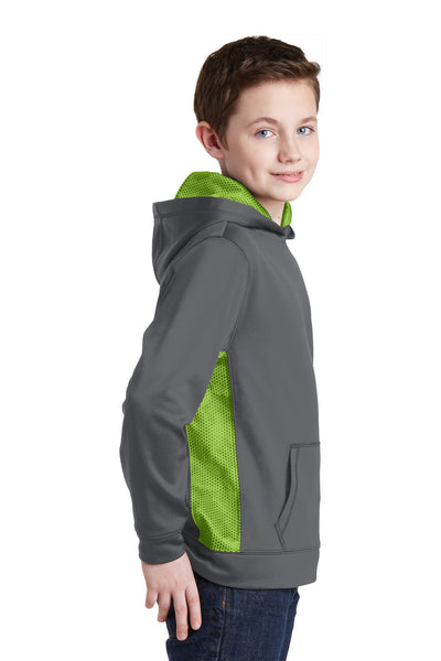 Sport-Tek YST239 Youth Sport-Wick CamoHex Moisture Wicking Fleece Hooded Sweatshirt Hoodie Dark Grey/Lime Green Side