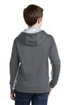 Sport-Tek YST239 Youth Sport-Wick CamoHex Moisture Wicking Fleece Hooded Sweatshirt Hoodie Dark Grey/White Back