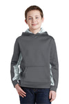 Sport-Tek YST239 Youth Sport-Wick CamoHex Moisture Wicking Fleece Hooded Sweatshirt Hoodie Dark Grey/White Front
