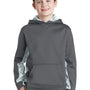 Sport-Tek Youth Sport-Wick CamoHex Moisture Wicking Fleece Hooded Sweatshirt Hoodie - Dark Smoke Grey/White