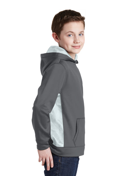 Sport-Tek YST239 Youth Sport-Wick CamoHex Moisture Wicking Fleece Hooded Sweatshirt Hoodie Dark Grey/White Side