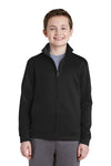 Sport-Tek YST241 Youth Sport-Wick Moisture Wicking Fleece Full Zip Sweatshirt Black Front