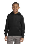 Sport-Tek YST244 Youth Sport-Wick Moisture Wicking Fleece Hooded Sweatshirt Hoodie Black Front