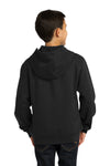 Sport-Tek YST254 Youth Fleece Hooded Sweatshirt Hoodie Black Back