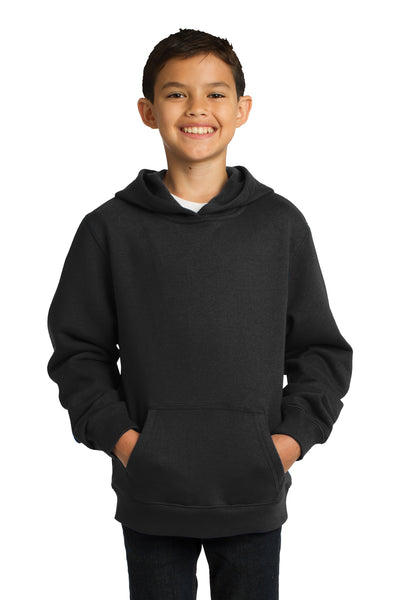 Sport-Tek YST254 Youth Fleece Hooded Sweatshirt Hoodie Black Front