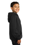 Sport-Tek YST254 Youth Fleece Hooded Sweatshirt Hoodie Black Side