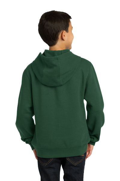 Sport-Tek YST254 Youth Fleece Hooded Sweatshirt Hoodie Forest Green Back