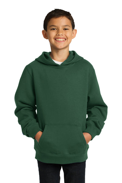 Sport-Tek YST254 Youth Fleece Hooded Sweatshirt Hoodie Forest Green Front