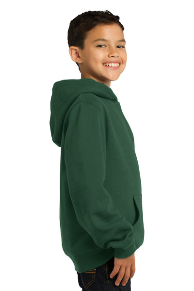 Sport-Tek YST254 Youth Fleece Hooded Sweatshirt Hoodie Forest Green Side