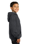 Sport-Tek YST254 Youth Fleece Hooded Sweatshirt Hoodie Heather Graphite Grey Side