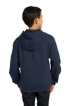 Sport-Tek YST254 Youth Fleece Hooded Sweatshirt Hoodie Navy Blue Back