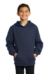 Sport-Tek YST254 Youth Fleece Hooded Sweatshirt Hoodie Navy Blue Front
