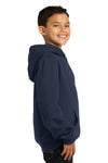 Sport-Tek YST254 Youth Fleece Hooded Sweatshirt Hoodie Navy Blue Side