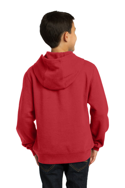Sport-Tek YST254 Youth Fleece Hooded Sweatshirt Hoodie Red Back