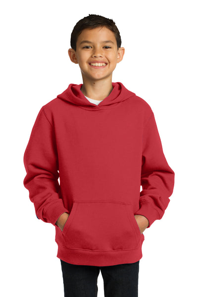Sport-Tek YST254 Youth Fleece Hooded Sweatshirt Hoodie Red Front