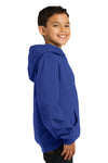 Sport-Tek YST254 Youth Fleece Hooded Sweatshirt Hoodie Royal Blue Side