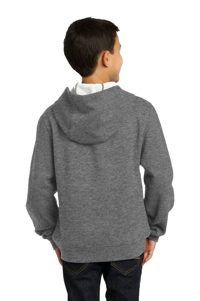 Sport-Tek YST254 Youth Fleece Hooded Sweatshirt Hoodie Heather Vintage Grey Back