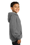 Sport-Tek YST254 Youth Fleece Hooded Sweatshirt Hoodie Heather Vintage Grey Side