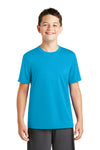 Sport-Tek YST320 Youth Tough Moisture Wicking Short Sleeve Crewneck T-Shirt Atomic Blue Front