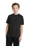 Sport-Tek YST340 Youth RacerMesh Moisture Wicking Short Sleeve Crewneck T-Shirt Black Front