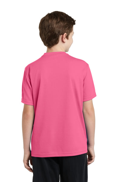 Sport-Tek YST340 Youth RacerMesh Moisture Wicking Short Sleeve Crewneck T-Shirt Pink Back