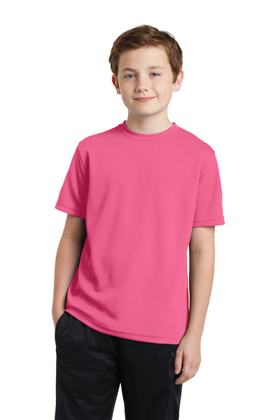 Sport-Tek YST340 Youth RacerMesh Moisture Wicking Short Sleeve Crewneck T-Shirt Pink Front