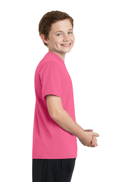 Sport-Tek YST340 Youth RacerMesh Moisture Wicking Short Sleeve Crewneck T-Shirt Pink Side