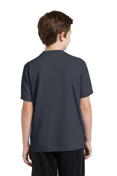 Sport-Tek YST340 Youth RacerMesh Moisture Wicking Short Sleeve Crewneck T-Shirt Graphite Grey Back