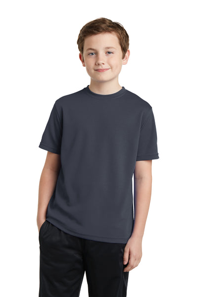 Sport-Tek YST340 Youth RacerMesh Moisture Wicking Short Sleeve Crewneck T-Shirt Graphite Grey Front