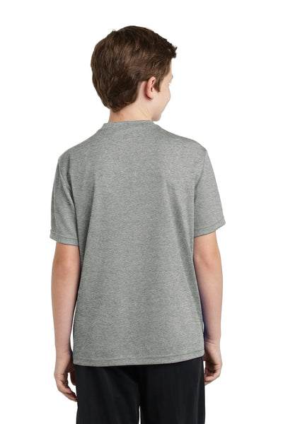Sport-Tek YST340 Youth RacerMesh Moisture Wicking Short Sleeve Crewneck T-Shirt Heather Grey Back