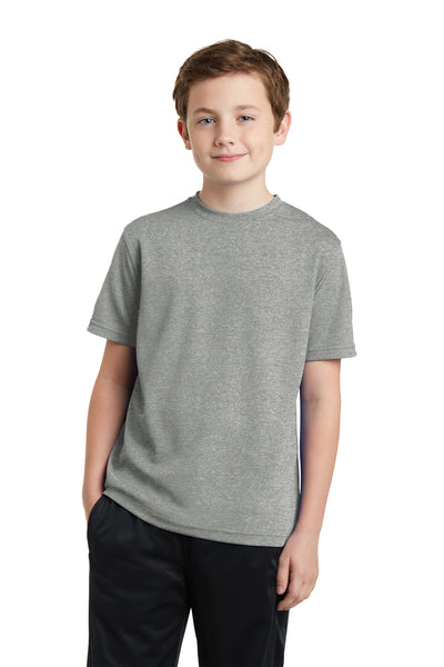 Sport-Tek YST340 Youth RacerMesh Moisture Wicking Short Sleeve Crewneck T-Shirt Heather Grey Front