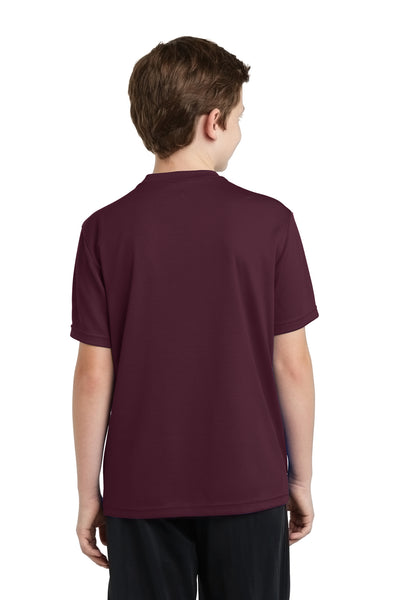 Sport-Tek YST340 Youth RacerMesh Moisture Wicking Short Sleeve Crewneck T-Shirt Maroon Back