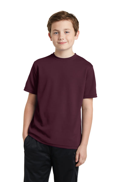 Sport-Tek YST340 Youth RacerMesh Moisture Wicking Short Sleeve Crewneck T-Shirt Maroon Front