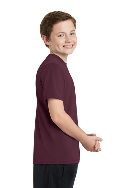 Sport-Tek YST340 Youth RacerMesh Moisture Wicking Short Sleeve Crewneck T-Shirt Maroon Side