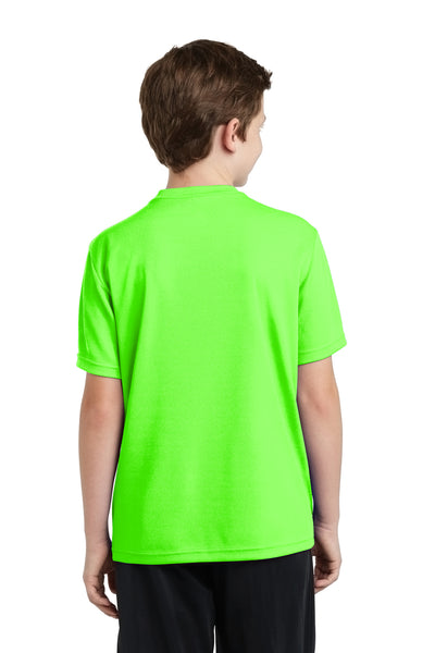 Sport-Tek YST340 Youth RacerMesh Moisture Wicking Short Sleeve Crewneck T-Shirt Neon Green Back