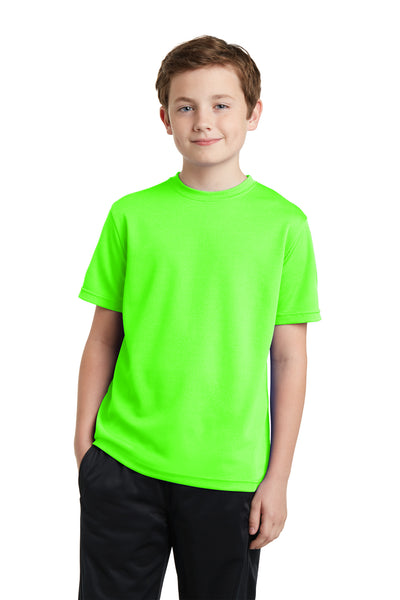 Sport-Tek YST340 Youth RacerMesh Moisture Wicking Short Sleeve Crewneck T-Shirt Neon Green Front