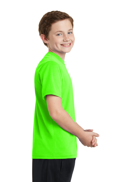 Sport-Tek YST340 Youth RacerMesh Moisture Wicking Short Sleeve Crewneck T-Shirt Neon Green Side