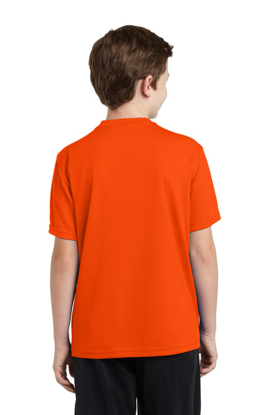 Sport-Tek YST340 Youth RacerMesh Moisture Wicking Short Sleeve Crewneck T-Shirt Neon Orange Back