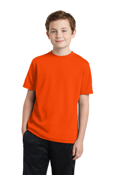 Sport-Tek YST340 Youth RacerMesh Moisture Wicking Short Sleeve Crewneck T-Shirt Neon Orange Front