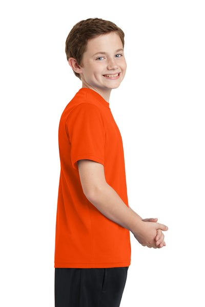 Sport-Tek YST340 Youth RacerMesh Moisture Wicking Short Sleeve Crewneck T-Shirt Neon Orange Side